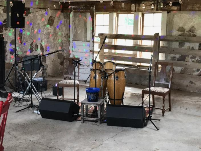 The spacious rustic barn has an area that is perfect for music and entertainment!